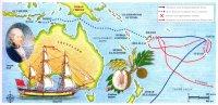После мятежа на «Баунти» блестящие навигационные способности Уильяма Блая позволили ему добраться на легкой шлюпке от Фиджи до Тимора, а его помощник Флетчер Кристиан и еще восемь мятежников на захваченном корабле отправились в противоположную сторону — на остров Питкэрн.