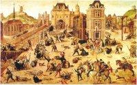 Тело Гаспара де Колиньи выбрасывают из окна (справа) во время Варфоломеевской ночи, а тела других гугенотов сваливают в кучи и стаскивают в Сену.