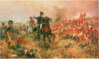 Герцог Веллингтон подбадривает свои войска перед битвой при Ватерлоо. Позднее он скажет о ней: «За всю свою жизнь я не испытывал такой тревоги и, признаюсь, никогда не был так близок к поражению».
