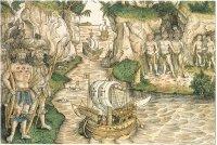За кораблями Америго Веспуччи, исследующими побережье Южной Америки, с любопытством наблюдают американские индейцы. Эта гравюра на дереве впервые появилась в «Мундус Новус» («Новый Свет») в 1505 г.