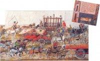 Этот «осадный поезд» императора Священной Римской империи Максимилиана I был в XVI в. одной из вершин военной техники. Он включал даже передвижную мельницу для изготовления пороха (вверху в центре). Первое изображение стреляющей пушки (справа) датируется 1326 г.