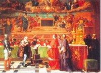 Галилей(вверху) отрекается в Риме от гелиоцентрической системы.Перед ним кардинал — председатель суда. За столом — инквизиторы.