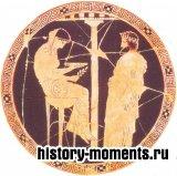Жрица Дельфийского оракула, сидя на золотом треножнике, входит в транс и сообщает предсказание оракула афинскону царю Эгею.