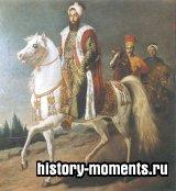 Османский султан Селим III под охраной янычара и слуги; он был поэтом и композитором, убит собственным племянником Мустафой IV.