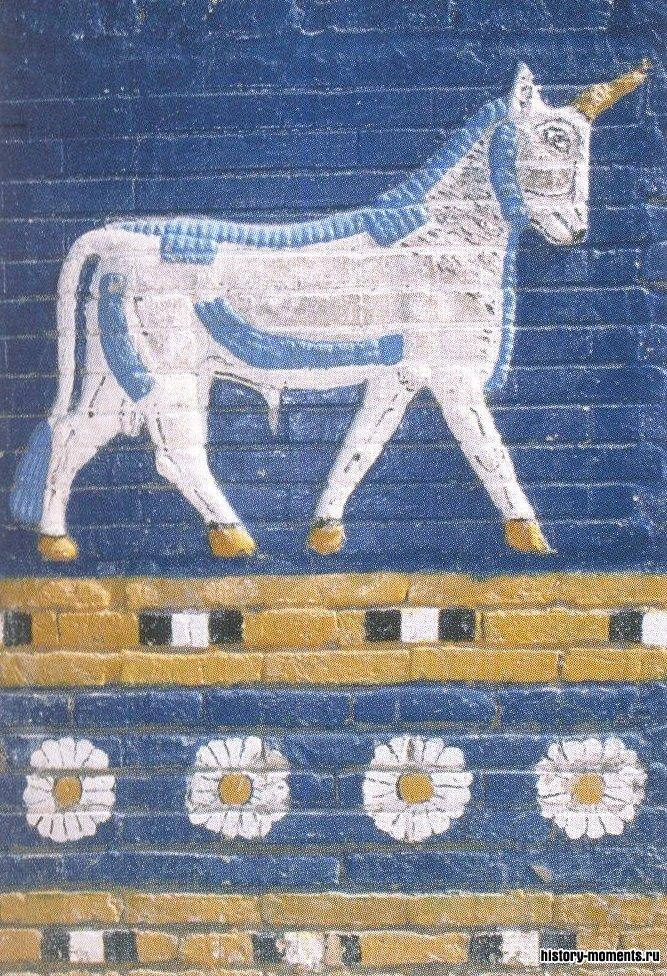 Бык на Воротах Иштар (изразцы) -неукротимый Адад, бог грома, дождя и ветра.