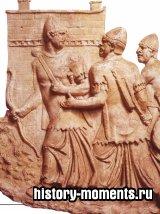 Этот каменный рельеф изображает лучников Ближнего Востока, служивших ауксилиариями в римской армии.