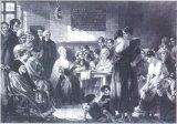 Реформатор исправительной системы Элизабет Фрай читает Библию заключенным Ньюгейтской тюрьмы в Лондоне. Она проповедовала свои идеи, путешествуя по Европе, а потом организовала бесплатные столовые для лондонских бедняков.