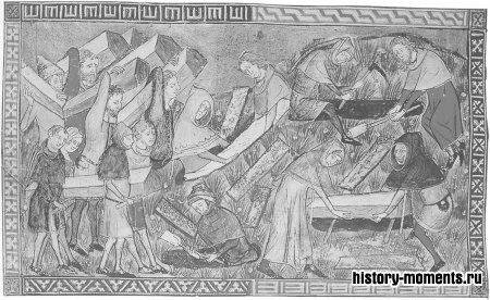 Жители Турне (Бельгия) хоронят своих мертвых. Эта фламандская миниатюра 1352 г. — одно из немногих дошедших до нас свидетельств массовой гибели европейцев