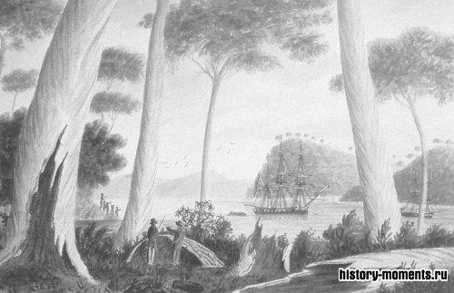 Залив Адвенчер у Тасмании вскоре после открытия этого острова