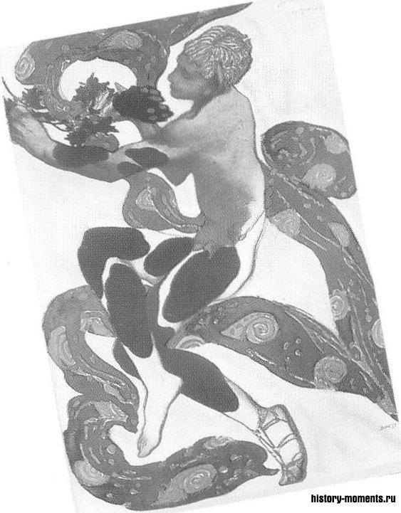Бакст: эскиз костюма Нижинского в «Послеполуденном отдыхе фавна».