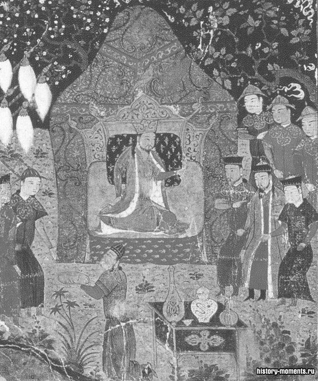 Чингисхан на троне со стоящими рядом сыновьями. Еще подростком Тэмуджин убил своего единокровного брата и потенциального соперника.