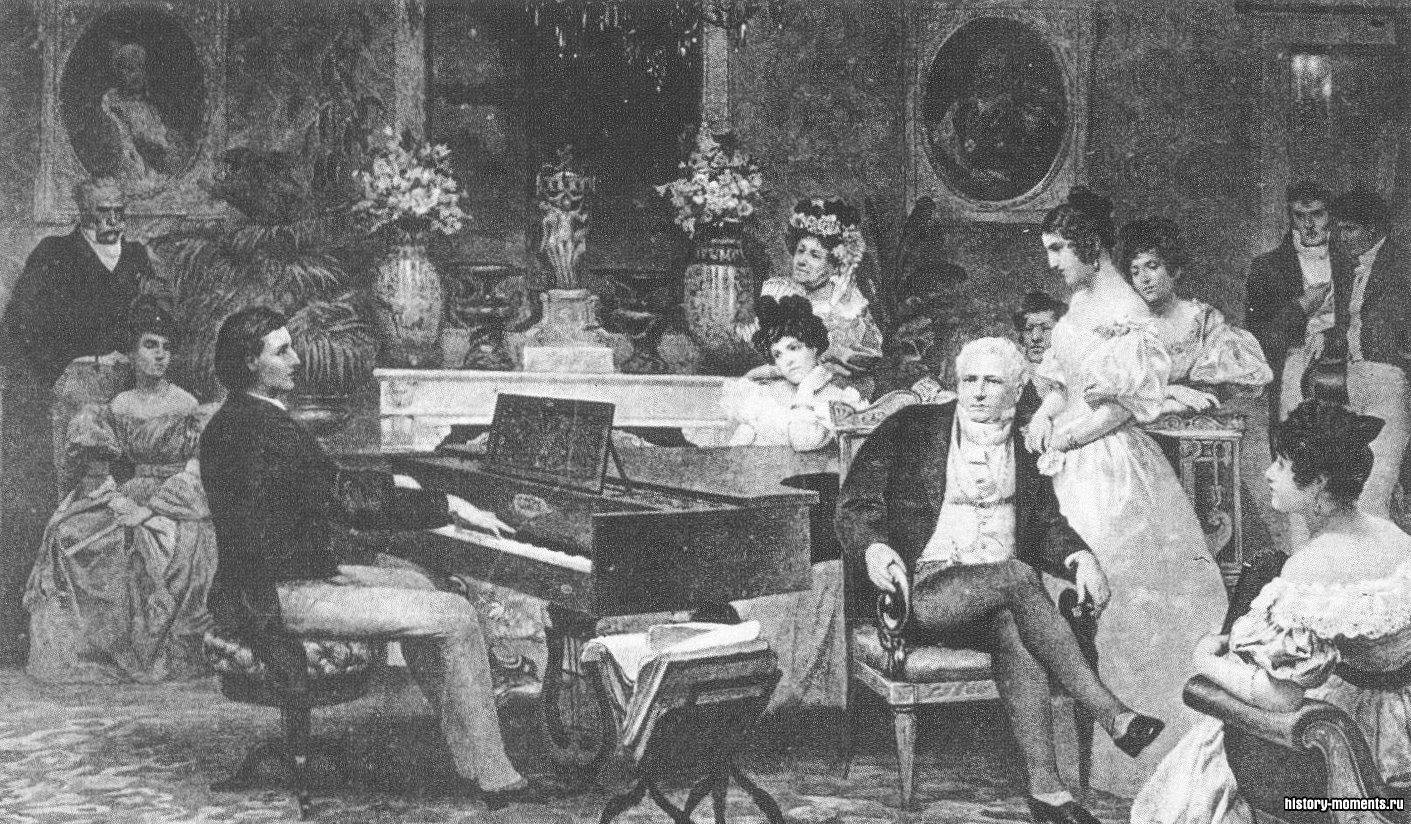Девятнадцатилетний Шопен развлекает публику в одной из берлинских светских салонов; (слева) рукопись партитуры полонеза, сочиненного в 1842 г.