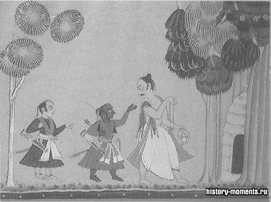 Сцена из жизни Рамы, героя индийского эпоса «Рамаяна».