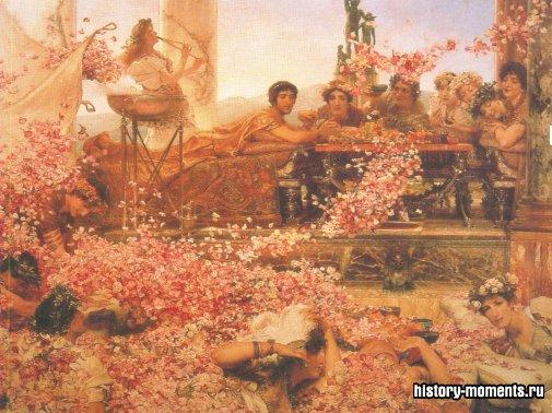Картина конца XIX в. изображает гостей Гелиогабала, на которых из сети, натянутой над столом, сыплются тысячи лепестков роз.