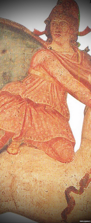 На этом рисунке изображен Митра, убивающий священного быка. Считалось, что его кровь дала рождение всему живому на земле.