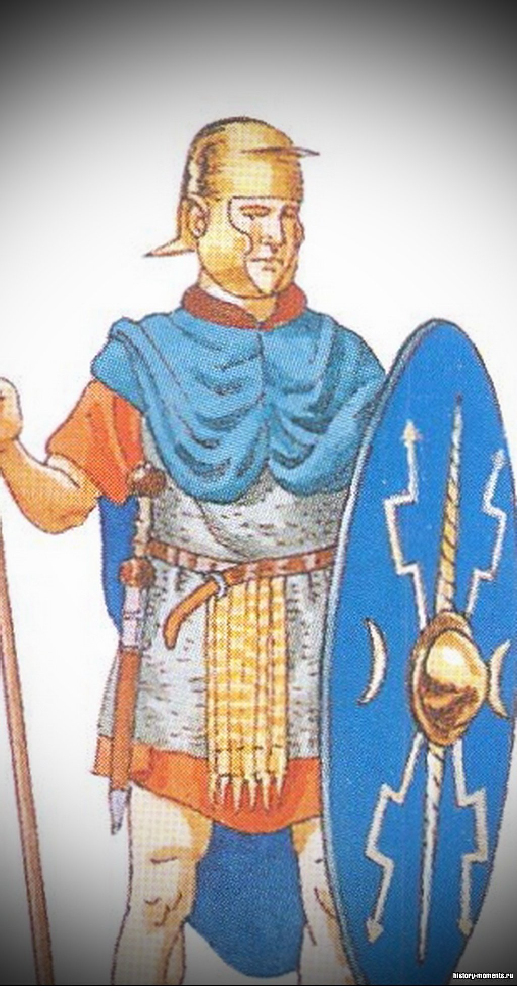 Ауксилиарии -вспомогательные войска легиона, защищавшие фланги. Состояли из «союзников» -италиков, этрусков, позднее из провинциалов.