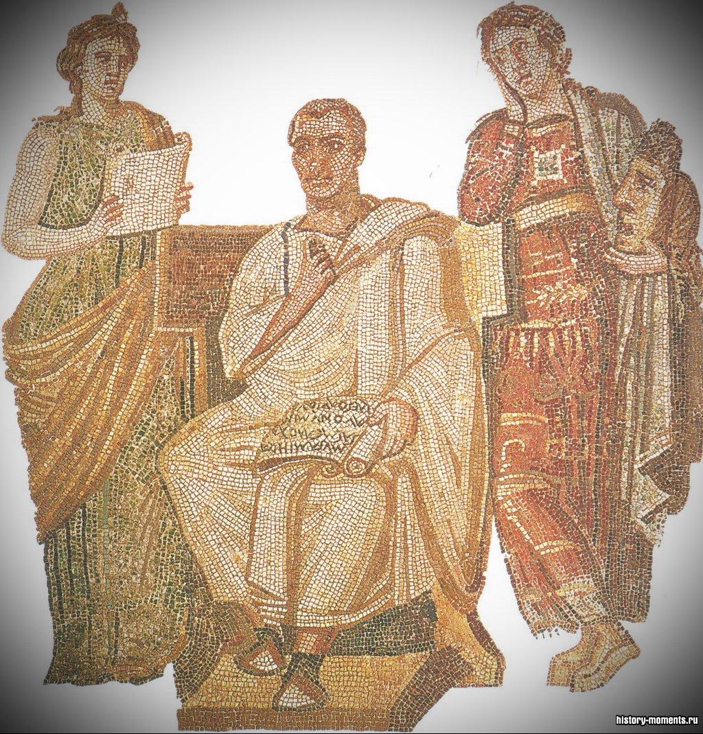На этой мозаике изображен Вергилий в окружении муз, покровительниц искусств.