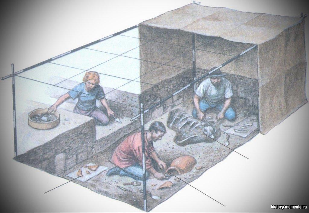 Археологи на раскопе работают медленно и кропотливо. Для расчистки предмета они пользуются щеточками и маленькими лопатками. Иногда они смывают грязь небольшим количеством воды. Забрав предмет для исследования, они отмечают точное место, где он был найден.