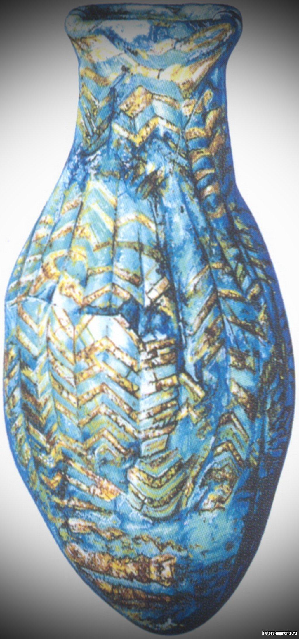 Стеклянная бутыль из касситской могилы в Уре.