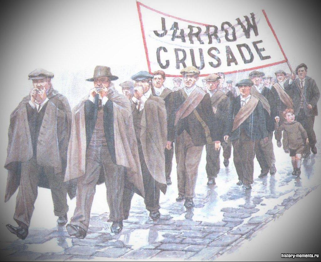 Безработные из Джэрроу на севере Англии в 1936 г. совершили марш до Лондона, требуя от правительства работы и повышения зарплаты.