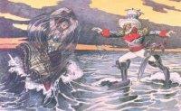 Карикатура времен испано-американской войны, на которой изображен «дядя Сэм», спасающий «деву морскую», т.е. Кубу. Для Испании поражение означало окончательную утрату колоний в Новом Свете.