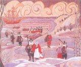 На гобелене запечатлена благополучная высадка на берег отцов-пилигримов у Плимут-Рока, но пуритане были слабо подготовлены к предстоящей суровой зиме.