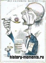 Филантроп Джон Д. Рокфеллер, принимая ежедневную порцию нефтедолларов, делится с человечеством. Его компания «Стандард ойл» в конце XIX в. монополизировала нефтяную промышленность США.