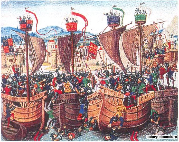 Миниатюра из «Хроник» Жана Фруассара: битва при Слёйсе (1340), в которой флот английского короля Эдуарда III разгромил французский флот в гавани у фламандского побережья.