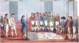 Подмастерье (слева с обнаженной грудью) готовится к посвящению в масонскую ложу (начало XIX в.). Многие из разложенных на полу атрибутов братства (угольник, циркуль и т.д.) используются в его ритуалах по сей день.
