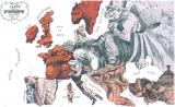 На этой карте-карикатуре 1871 г. Наполеон III пытается отбиться от наседающего прусского канцлера Отто фон Бисмарка, из-за спины которого выглядывает русский великан.