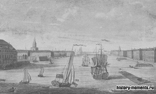 Новая столица России Санкт-Петербург: справа — Зимний дворец на берегу Невы