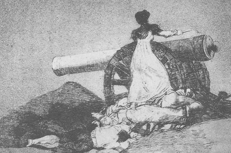 Ужасы наполеоновских войн вдохновили Гойю на офорт «Какое мужество!»: испанка продолжает сражаться, когда все вокруг убиты.