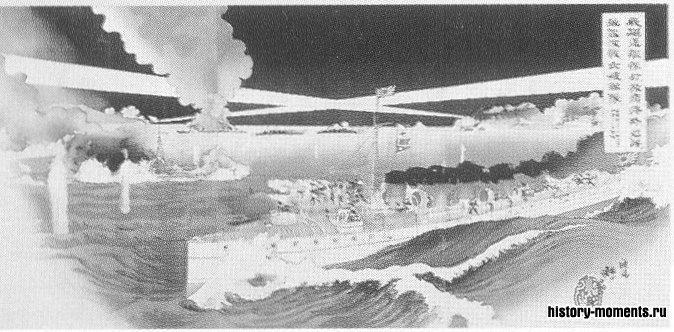 Японцы атакуют Порт-Артур, гравюра 1904 г.