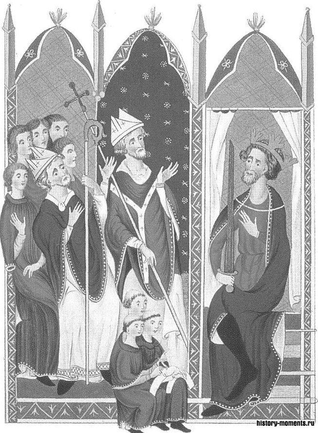На этой миниатюре из французской рукописи Эдуард I, вернувшись из крестового похода, узнает, что стал английским королем.
