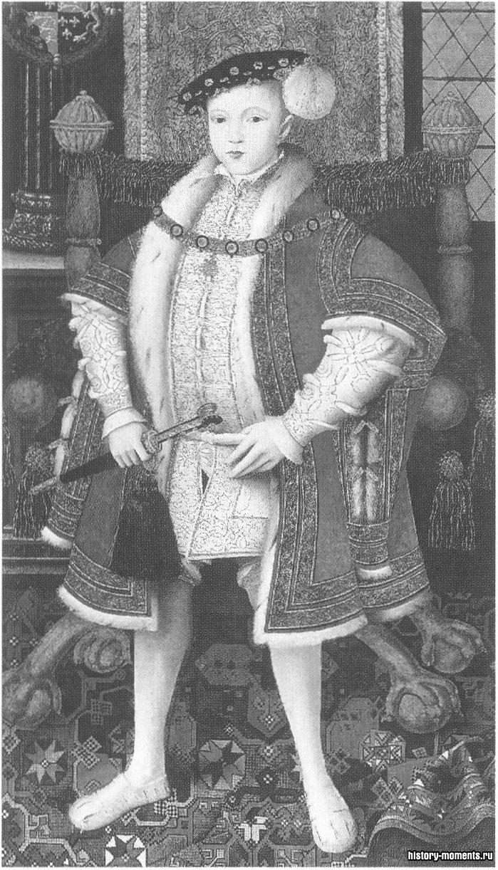 Недолго прожившего Эдуарда VI в шесть лет чуть было не обручили с годовалой Марией Стюарт, будущей королевой Шотландской, а в девять лет он стал королем Англии.