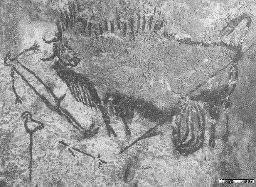 Рисунок на стене пещеры Ласко (Франция): шаман убивает зубра (ок. 10 000 до н.э.).