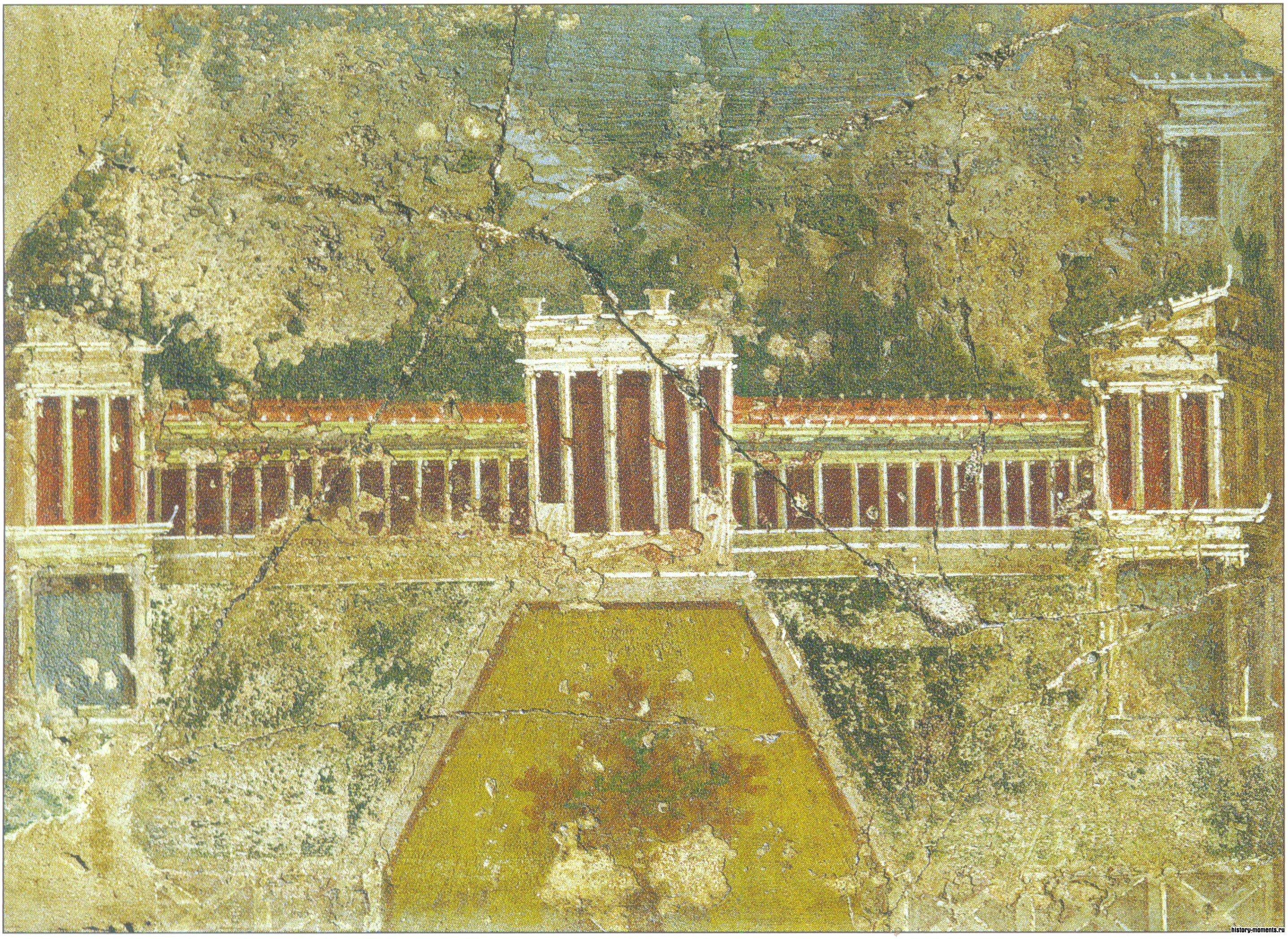 Эта фреска с виллы императрицы Ливии изображает огромную виллу с частью сада.