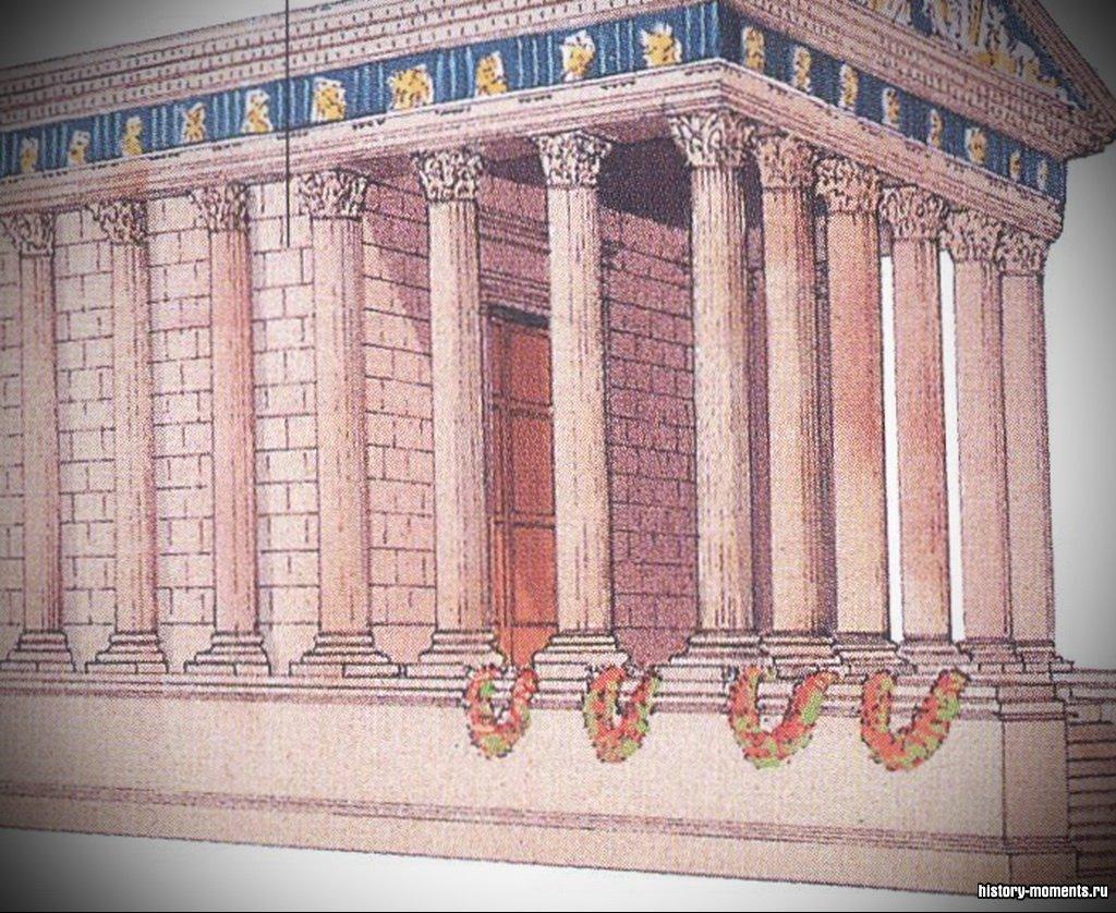 В римских храмах наружные колонны, называемые перистилем, были присоединены к стене целлы.