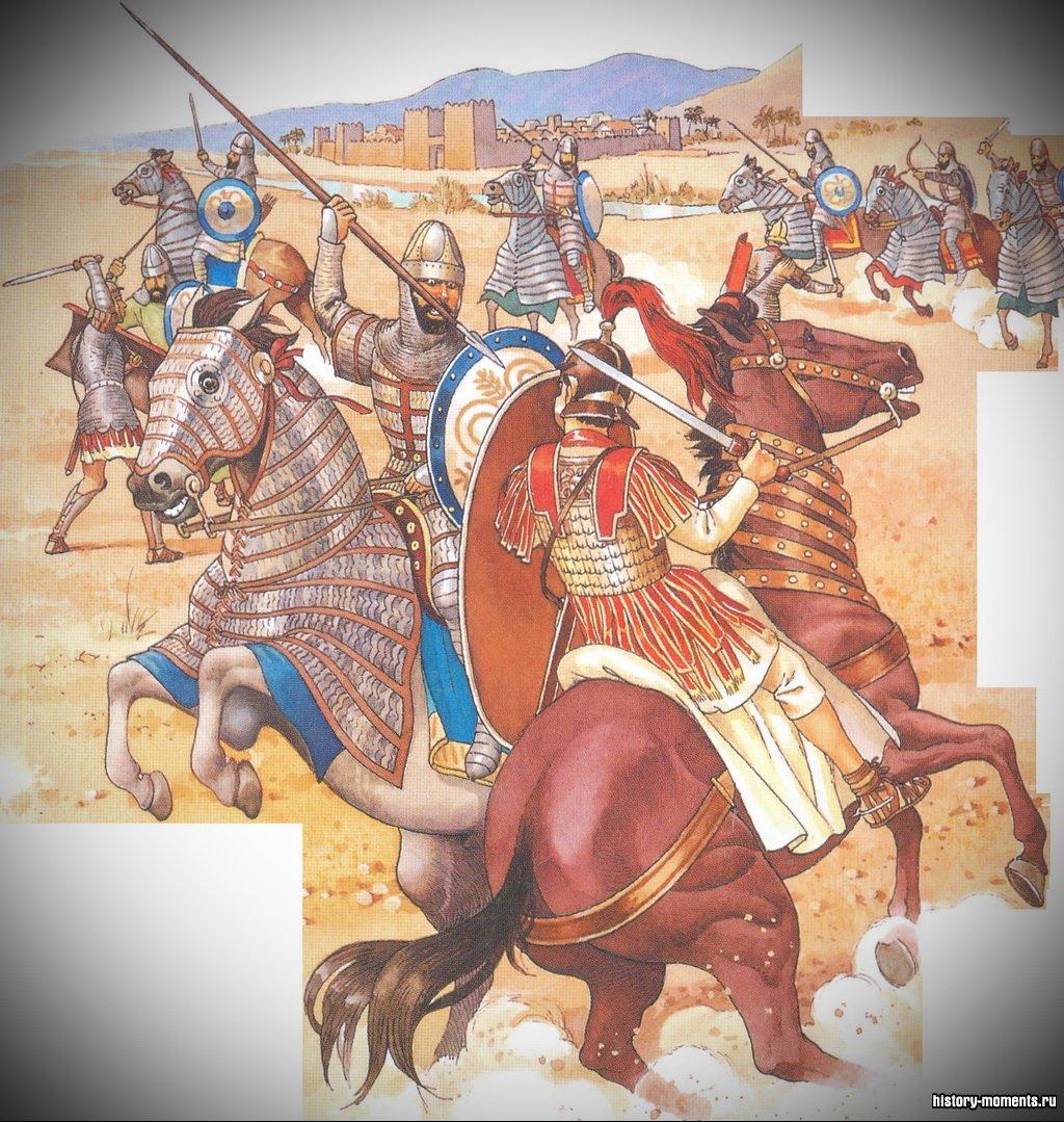 Римские солдаты и их лошади были защищены хуже, чем сасаниды.