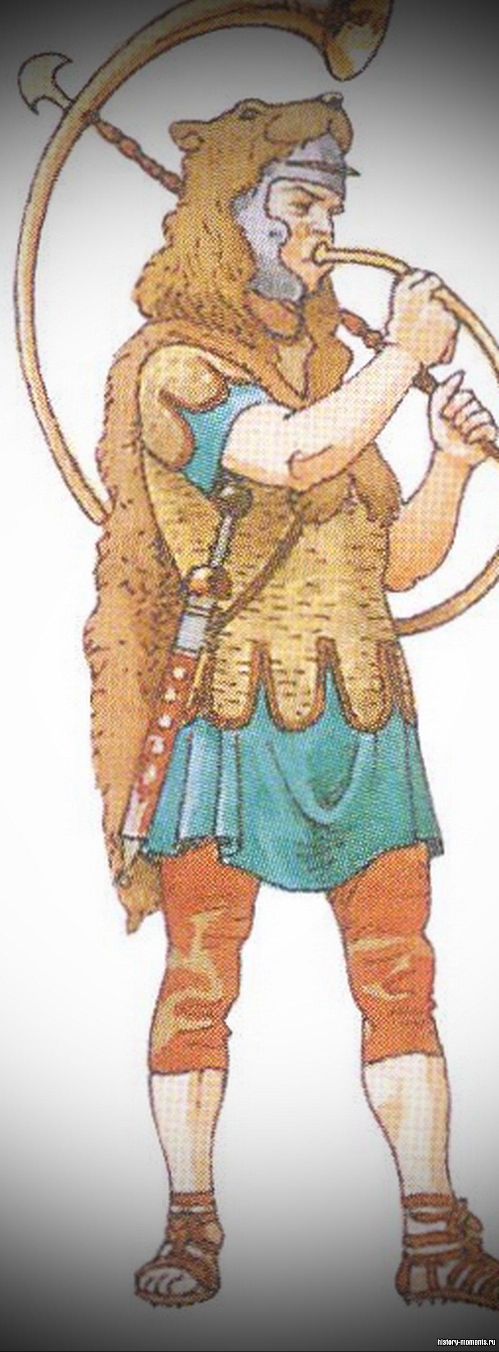 Корницен - горнист, трубя в рог, он подавал сигналы во время битвы.
