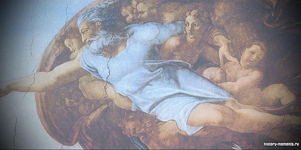 Используя новые приемы, художники наполняли жизнью знакомые, чаще всего библейские, сюжеты, делали их более эмоционально выразительными. Фреска Микеланджело «Сотворение мира».Используя новые приемы, художники наполняли жизнью знакомые, чаще всего библейские, сюжеты, делали их более эмоционально выразительными. Фреска Микеланджело «Сотворение мира».