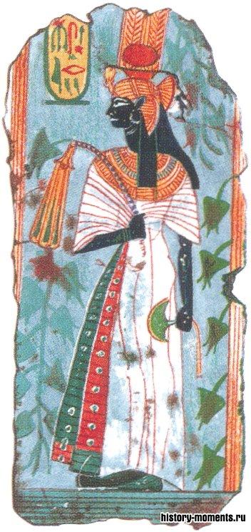Позднее Яхмос-Нефертари стала почитаться как богиня. Такой она изображена на этом рисунке.