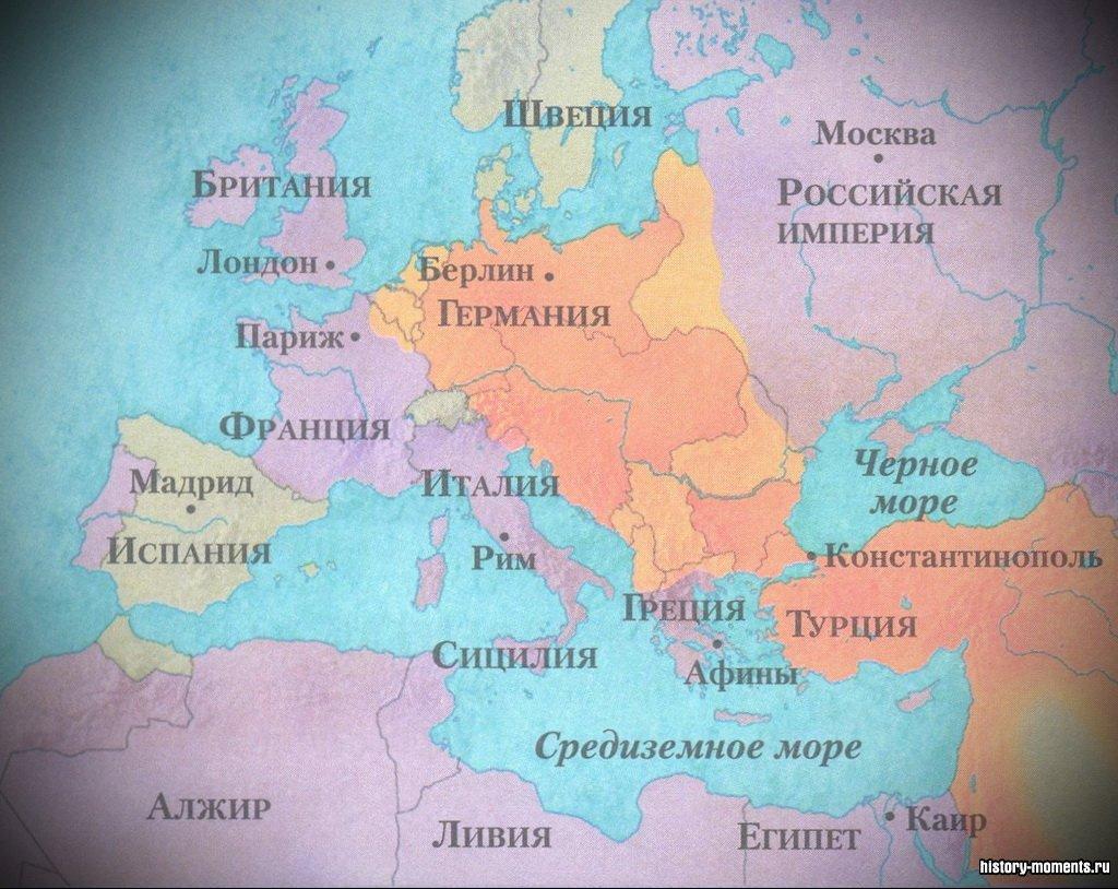 На карте показаны места наиболее ожесточенных сражений Первой мировой войны.