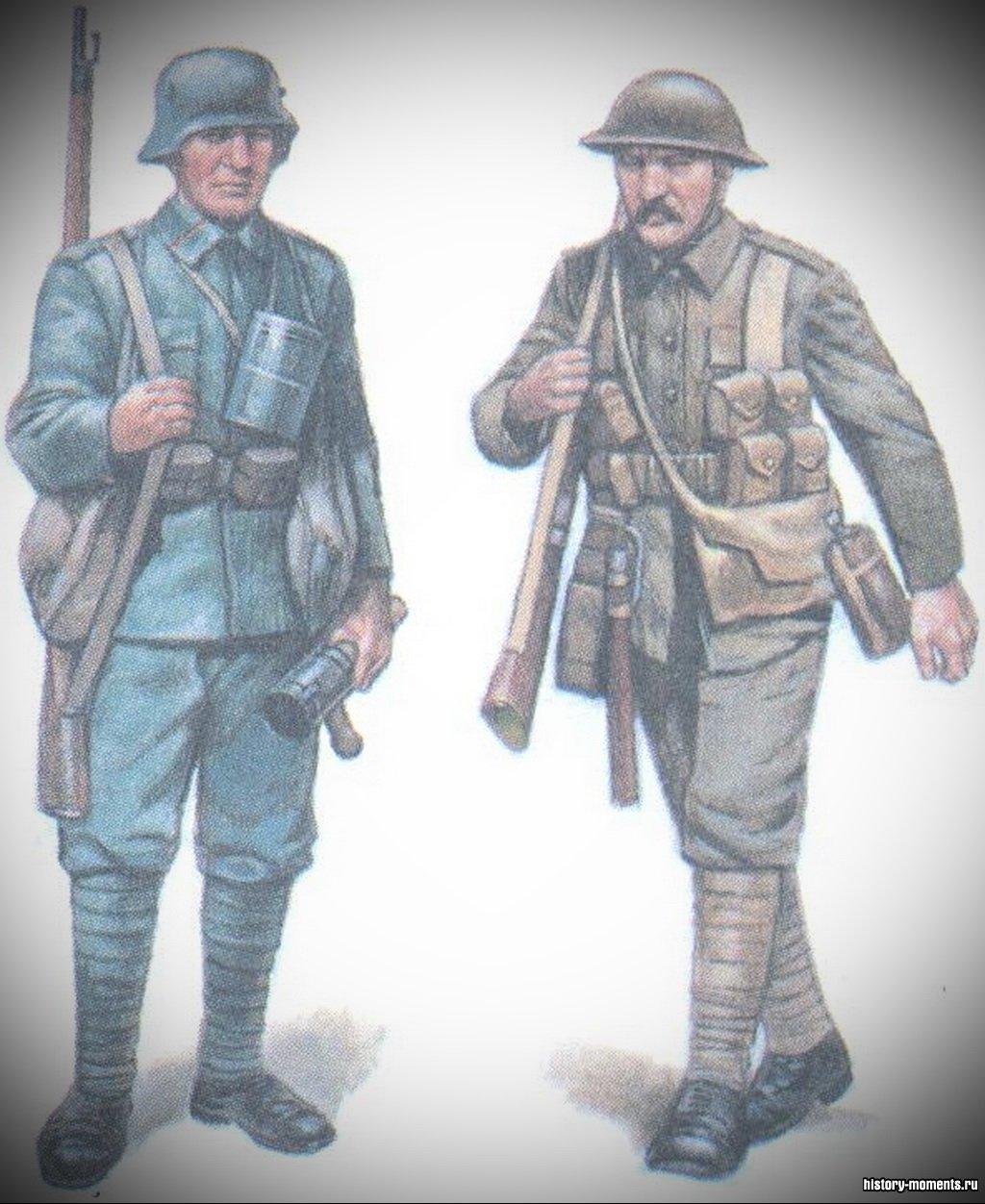 Пехотинцы Первой мировой войны: германский (слева) и британский (справа ).