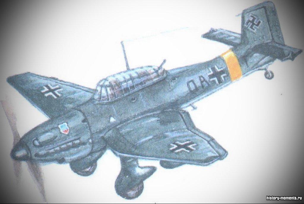 Юнкере «Ю-87», прозванный «лаптежником» за характерные очертания обтекателей шасси, применялся для бомбежек мирного населения стран Европы.